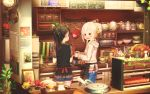 2girls abo_(kawatasyunnnosukesabu) animal_hood apple apron bangs basket black_apron black_shirt blue_skirt blush book bottle bowl calendar_(object) clock coffee commentary_request cookie cooking denim denim_shorts faucet food frilled_shirt frills fruit hair_bun highres hood hood_down hoodie indoors jar kitchen long_hair long_sleeves looking_at_another microwave multiple_girls musical_note_hair_ornament original oven_mitts pinecone pink_hoodie ponytail red_apron red_eyes shirt short_sleeves shorts siblings sidelocks sisters skirt teapot waist_apron wreath