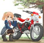 1girl boots graphite_(medium) ground_vehicle highres mechanical_pencil mikeran_(mikelan) motor_vehicle motorcycle orange_eyes orange_hair original pencil ponytail thigh-highs thigh_boots traditional_media yamaha