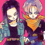 2boys :p android_17 arm_at_side belt black_hair black_pants black_shirt blue_eyes breast_pocket character_name collarbone commentary cosplay costume_switch crossed_out denim denim_jacket dragon_ball dragon_ball_z earrings fanny_pack fingernails gradient hand_in_pocket hand_on_hip hand_up head_tilt highres jacket jeans jewelry light_smile long_sleeves looking_down looking_to_the_side male_focus multiple_boys neckerchief number open_clothes open_jacket orange_neckwear pants pink_background pocket purple_hair red_ribbon_army shaded_face shirt short_hair simple_background standing straight_hair symbol_commentary tkgsize tongue tongue_out trunks_(future)_(dragon_ball) upper_body x