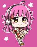 1girl ahoge artist_name bangs blush_stickers boots chibi flower full_body hair_flower hair_ornament headphones jacket long_hair looking_at_viewer love_live! love_live!_school_idol_festival_all_stars no_mask outline perfect_dream_project pink_background pink_hair pink_neckwear red_flower short_sleeves skirt smile solo spoilers standing standing_on_one_leg star tennouji_rina v van_springfield white_outline yellow_eyes