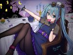1girl artist_name bat black_gloves black_legwear blue_dress blue_fire candle candy chair crescent_moon cup cupcake dated dress fire follow_dreams food ghost gloves hair_between_eyes hair_ornament hair_ribbon halloween hatsune_miku highres jack-o'-lantern lollipop long_hair looking_at_viewer moon mouth_hold night outdoors outstretched_arm pantyhose ribbon sitting skull_hair_ornament solo swirl_lollipop table tablecloth teacup teapot tombstone twintails very_long_hair vocaloid