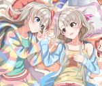 2girls bangs blue_eyes blue_pajamas blunt_bangs blush braid breasts brown_eyes clothes_writing collarbone commentary_request computer cowboy_shot doll earrings green_shirt grey_hair hair_strand hand_on_another's_arm hand_on_own_chest haruki_(haruki678) head_on_pillow highres hisakawa_hayate hisakawa_nagi hood hoodie idolmaster idolmaster_cinderella_girls jewelry laptop long_hair looking_at_another low_twintails lying midriff_peek mouse_(computer) mousepad_(object) multicolored multicolored_clothes multicolored_hoodie multicolored_pants multiple_girls off-shoulder_shirt off_shoulder on_bed open_clothes open_hoodie open_mouth open_pajamas pillow shadow shirt siblings sisters small_breasts smile star star_print tank_top twins twintails yellow_tank_top