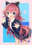 1girl :o ahoge bang_dream! bangs blazer blue_eyes blue_skirt cat_ear_headphones chu2_(bang_dream!) claw_pose collared_shirt commentary_request fang headphones highres jacket koh_(user_kpcu7748) leaning_forward long_hair long_sleeves looking_at_viewer necktie paw_print plaid plaid_skirt pleated_skirt red_neckwear redhead shirt skirt solo striped striped_neckwear v-shaped_eyebrows very_long_hair white_shirt