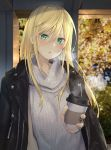 1girl :o bangs black_jacket blonde_hair blurry blurry_background blush breasts breathing coffee_cup cold cup disposable_cup earrings green_eyes hair_between_eyes highres holding holding_cup isegawa_yasutaka jacket jacket_on_shoulders jewelry long_hair looking_at_viewer medium_breasts orange_nails original sidelocks solo standing sweater sweater_vest turtleneck turtleneck_sweater white_sweater