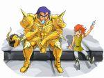 armor ba_(artist) ice_cream kiki_(saint_seiya) saint_seiya sitting size_difference taurus_aldebaran