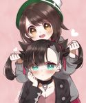 2girls aqua_eyes asymmetrical_bangs asymmetrical_hair atobesakunolove bangs big_eyes black_hair black_jacket blush breasts brown_eyes brown_hair cardigan choker commentary_request dress earrings eyebrows_visible_through_hair green_headwear grey_cardigan hair_ribbon hat highres holding jacket jewelry long_sleeves looking_at_viewer mary_(pokemon) multiple_girls open_clothes open_mouth pink_background pink_dress pokemon pokemon_(game) pokemon_swsh red_ribbon ribbon short_hair simple_background smile tam_o'_shanter twintails yuuri_(pokemon)