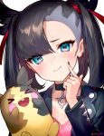 >_< 1girl :d ainy77 aqua_eyes artist_name bangs black_choker black_hair black_jacket black_nails blush choker commentary_request ear_piercing finger_to_cheek gen_8_pokemon hair_ribbon hand_up highres jacket long_hair long_sleeves looking_at_viewer mary_(pokemon) morpeko nail_polish open_mouth partial_commentary piercing pointy_hair pokemon pokemon_(game) pokemon_swsh red_ribbon ribbon simple_background smile solo twintails twitter_username upper_body white_background