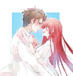 1boy 1girl accra_k bangs black_eyes blush brown_hair closed_mouth commentary_request couple ear_blush embarrassed eyebrows_visible_through_hair hair_between_eyes hetero highres hug incoming_kiss labcoat long_hair looking_at_another makise_kurisu messy_hair okabe_rintarou open_mouth redhead simple_background sketch steins;gate two-tone_background violet_eyes