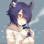 1girl artist_name blue_background blush breasts cup eyebrows_visible_through_hair eyepatch hair_over_one_eye holding holding_cup kantai_collection kotobuki_(momoko_factory) large_breasts long_sleeves looking_away messy_hair parted_lips purple_hair short_hair simple_background sleeves_past_wrists solo steam sweater tenryuu_(kantai_collection) triangle_mouth turtleneck turtleneck_sweater twitter_username upper_body white_sweater