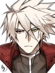 1boy ahoge blazblue empty_eyes green_eyes heterochromia jacket long_hair male_focus ragna_the_bloodedge red_eyes roas01b silver_hair solo turtleneck upper_body white_hair