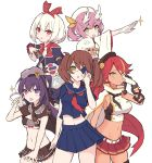 5girls artist_request azur_lane bandages bangs belt beret black_hair black_legwear blonde_hair blue_eyes blue_sailor_collar blue_shirt blue_skirt blush breasts brown_hair card crop_top crossed_bangs dark_skin dragon_horns eyebrows_visible_through_hair eyepatch gloves green_eyes hair_between_eyes hair_ribbon hairband hat hermes_(azur_lane) heterochromia horns jamaica_(azur_lane) large_breasts long_hair long_sleeves looking_at_viewer medium_breasts midriff miniskirt multicolored_hair multiple_girls navel neckerchief open_mouth pink_hair pleated_skirt red_eyes red_hairband red_neckwear red_skirt redhead ribbon ryuujou_(azur_lane) sailor_collar school_uniform serafuku shirt short_hair short_sleeves skirt sleeveless sleeveless_shirt standing streaked_hair thigh-highs twintails under_boob violet_eyes white_gloves white_hair wide_sleeves yellow_eyes york_(azur_lane) york_(truth_seeker)_(azur_lane) z36_(azur_lane)