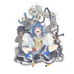 1girl :d ^_^ alternate_costume ankle_boots assault_rifle bandaid bandaid_on_knee bangs beige_vest black_shorts blue_footwear blue_hair blue_shirt blush boots breasts bulletproof_vest calculator closed_eyes coat collared_shirt computer_tower daewoo_k11 damaged dirty dr_pepper electricity explosion explosive eyebrows_visible_through_hair facing_viewer fire full_body girls_frontline glasses grenade gun hair_between_eyes hair_half_undone hair_ornament holding_magazine_(weapon) k11_(girls_frontline) keyboard labcoat ladic long_hair messy_hair multimeter official_art open_clothes open_coat open_mouth rifle shirt shorts sidelocks sitting sleeves_past_fingers sleeves_past_wrists smile solo transparent_background violet_eyes watch watch weapon white_coat x_hair_ornament younger