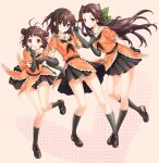 3girls antenna_hair black_footwear black_gloves black_legwear black_neckwear black_skirt brown_eyes brown_hair double_bun elbow_gloves full_body gloves hair_intakes hair_ribbon half_updo highres jintsuu_(kantai_collection) kantai_collection kneehighs loafers long_hair looking_at_viewer matching_outfit multiple_girls naka_(kantai_collection) neckerchief orange_serafuku orange_shirt panties pink_background pink_ribbon polka_dot polka_dot_background ribbon sailor_collar school_uniform sendai_(kantai_collection) serafuku shiosoda shirt shoes skirt smile two_side_up underwear white_panties white_sailor_collar