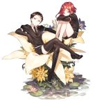 2others androgynous arm_rest black_eyes black_gloves black_hair black_legwear black_neckwear blush bort closed_mouth crossed_arms crossed_legs elbow_gloves flower frown gem_uniform_(houseki_no_kuni) gloves head_tilt houseki_no_kuni knees_up leg_hug lily_pad loafers looking_at_viewer lotus multiple_others necktie on_flower plantar_flexion puffy_short_sleeves puffy_sleeves red_eyes redhead sakanahen shinsha_(houseki_no_kuni) shoes short_hair short_sleeves shorts thigh-highs very_short_hair water white_background white_flower yellow_flower
