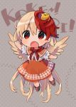 1girl akagashi_hagane animal animal_on_head arm_up bird bird_on_head blonde_hair boots brown_footwear capelet chibi chick eyebrows_visible_through_hair feathered_wings footprints full_body long_hair multicolored_hair neck_ribbon niwatari_kutaka on_head open_mouth orange_skirt patterned_background red_eyes red_neckwear redhead ribbon shirt short_hair short_sleeves skirt touhou two-tone_hair very_long_hair white_shirt wings