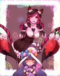 1girl 2girls bag black_dress blush_stickers breasts brown_eyes brown_hair candy chocolate claws collarbone commentary dress evelynn food fruit hair_ornament hat heterochromia highres holding large_breasts league_of_legends long_hair looking_at_viewer lulu_(league_of_legends) multiple_girls nanumn pink_hair purple_headwear sleeveless sleeveless_dress smile strapless strapless_dress strawberry tongue tongue_out violet_eyes wavy_mouth white_headwear yellow_eyes
