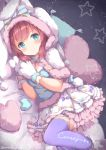 1girl animal_hood aqua_eyes back_bow bangs blue_bow blue_legwear blue_ribbon blush bow bowtie bunny_hood bunny_tail capelet commentary_request frilled_skirt frills fur-trimmed_skirt fur_trim gloves hands_together heart heart_pillow hood hood_up hooded_capelet kurosawa_ruby looking_at_viewer love_live! love_live!_sunshine!! lying niwasane_(saneatsu03) on_side paw_gloves paws pillow pink_bow pink_neckwear redhead ribbon skirt smile solo star striped striped_ribbon tail thigh-highs twitter_username