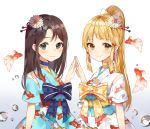 2girls alternate_hairstyle animal_print bang_dream! bangs black_eyes black_hair blonde_hair blue_choker blush bow choker churi_(oxxchurixxo) droplet fish fish_print flower goldfish goldfish_print hair_bow hair_flower hair_ornament hair_stick hands_together highres japanese_clothes kimono long_hair looking_at_viewer multiple_girls obi okusawa_misaki ponytail sash short_sleeves smile tassel_earrings tsurumaki_kokoro upper_body yellow_choker yellow_eyes