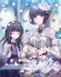 2girls ^_^ bang_dream! bangs black_dress black_hair blue_butterfly blue_flower blue_neckwear blue_rose brooch child closed_eyes dress dual_persona earrings flower frilled_sleeves frills grey_jacket hair_ribbon half_updo instrument jacket jewelry long_hair long_sleeves multiple_girls music neck_ribbon nennen pearl_(gemstone) piano_keys piano_print playing_instrument purple_flower purple_neckwear purple_rose ribbon rose shirokane_rinko short_sleeves shoulder_cutout side_bun smile time_paradox violet_eyes white_flower white_ribbon white_rose wrist_cuffs younger