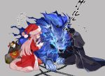 bag bell bow braid fate/grand_order fate_(series) florence_nightingale_(fate/grand_order) florence_nightingale_santa_(fate/grand_order) glowing glowing_eyes grey_background hat headless hessian_(fate/grand_order) lobo_(fate/grand_order) long_hair pink_hair red_eyes santa_hat syringe wolf zakka_(d-o-t)