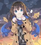 1girl bangs baozi black_skirt blue_eyes blue_scarf blush brown_coat brown_hair clouds cloudy_sky coat commentary_request covered_mouth duffel_coat eyebrows_visible_through_hair food fringe_trim ginkgo_leaf grey_sweater hair_between_eyes hands_up highres holding holding_food long_hair long_sleeves open_clothes open_coat original outdoors plaid plaid_sweater pleated_skirt scarf skirt sky sleeves_past_wrists solo sunset sweater tantan_men_(dragon) very_long_hair