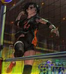1girl absurdres arm_up black_footwear black_hair black_shirt black_shorts breasts commentary_request elbow_pads highres indoors jumping knee_pads original red_eyes shirt shoes short_hair short_shorts short_sleeves shorts small_breasts socks solo sportswear tentsuu_(tentwo) volleyball volleyball_net volleyball_uniform white_legwear