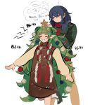 2girls alternate_costume blue_eyes blue_hair braid byleth_(fire_emblem) byleth_(fire_emblem)_(female) christmas_ornaments closed_eyes closed_mouth english_text fire_emblem fire_emblem:_three_houses fish funyanrinpa green_hair highres long_hair long_sleeves medium_hair multiple_girls open_mouth pointy_ears simple_background sothis_(fire_emblem) star sweater twin_braids white_background