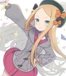 >:) 1girl abigail_williams_(fate/grand_order) bangs black_bow blonde_hair blue_eyes blush bow closed_mouth collared_dress commentary_request cosplay dress fate/grand_order fate_(series) forehead green_headwear grey_cardigan hair_bow hand_on_hip highres hood hood_down hooded_cardigan long_sleeves orange_bow outstretched_arm parted_bangs pokemon pokemon_(game) pokemon_swsh polka_dot polka_dot_bow puffy_long_sleeves puffy_sleeves red_dress smile solo sparkle tam_o'_shanter totatokeke v-shaped_eyebrows white_background yuuri_(pokemon) yuuri_(pokemon)_(cosplay)