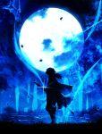 1boy blue_theme full_body full_moon grass harada_miyuki highres katana kimetsu_no_yaiba leaf long_hair long_sleeves low_ponytail moon night night_sky shadow sky solo standing sword tomioka_giyuu water weapon wide_sleeves