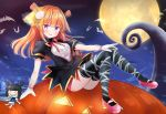 1girl animal bat black_dress black_legwear blue_hair blush breasts commentary_request copyright_request dress full_body full_moon gloves hair_ornament halloween jack-o'-lantern long_hair looking_at_viewer masayo_(gin_no_ame) moon multicolored_hair night night_sky orange_hair pink_footwear puffy_short_sleeves puffy_sleeves revision see-through shoes short_sleeves sitting sky small_breasts smile solo streaked_hair thigh-highs two_side_up v-shaped_eyebrows violet_eyes virtual_youtuber white_gloves