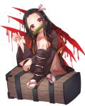 1girl absurdres bamboo bangs bit_gag black_hair black_haori blood blush fingernails full_body gag hair_ribbon haori highres huge_filesize japanese_clothes kamado_nezuko kimetsu_no_yaiba kimono long_fingernails long_hair long_sleeves looking_to_the_side mouth_hold multicolored_hair nail_polish oni orange_hair parted_bangs pcbl pink_eyes pink_kimono pink_nails pink_ribbon ribbon sitting solo two-tone_hair white_background wide_sleeves