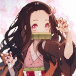 1girl arms_up bamboo bangs bit_gag black_hair black_haori commentary_request fingernails gag hair_ribbon haori highres japanese_clothes kamado_nezuko kimetsu_no_yaiba kimono long_fingernails long_hair long_sleeves looking_at_viewer lyra-kotto mouth_hold multicolored_hair oni open_clothes orange_hair parted_bangs petals pink_eyes pink_kimono pink_nails pink_ribbon ribbon sharp_fingernails solo two-tone_hair upper_body wide_sleeves