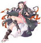 1girl bamboo bangs bit_gag black_hair brown_hair checkered commentary_request fingernails floral_background forehead full_body gag hair_ribbon highres japanese_clothes kamado_nezuko kimetsu_no_yaiba kimono long_fingernails long_hair long_sleeves looking_at_viewer mintchoco_(orange_shabette) mouth_hold multicolored_hair obi open_clothes parted_bangs pink_eyes pink_kimono pink_ribbon red_nails ribbon sash sharp_fingernails sleeves_past_wrists solo two-tone_hair very_long_hair white_background white_footwear white_legwear wide_sleeves zouri