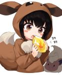 1girl black_hair blush_stickers brown_eyes commentary cosplay eating eevee eevee_(cosplay) fire_stone flareon gen_1_pokemon highres holding hood hood_up korean long_sleeves motion_lines open_mouth poke_kid_(pokemon) pokemon pokemon_(creature) pokemon_(game) pokemon_swsh short_hair simple_background solo_focus takotsu translation_request upper_body upper_teeth white_background