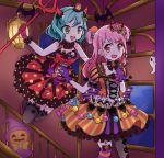 2girls alternate_hairstyle aqua_hair back_bow bang_dream! bangs bat black_legwear black_neckwear bow bowtie candy_hair_ornament cross-laced_clothes demon_horns double_bun dress food_themed_hair_ornament ghost gloves green_eyes hair_ornament hair_ribbon head_wings highres hikawa_hina horns indoors jack-o'-lantern jumping kaeru_(pau777) long_hair maruyama_aya mismatched_legwear multiple_girls open_mouth pink_eyes pink_gloves pink_hair polearm polka_dot polka_dot_dress purple_gloves ribbon short_hair short_sleeves striped striped_bow striped_legwear thigh-highs trident weapon