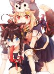2girls animal_ears arm_support biting black_cape black_legwear black_ribbon black_serafuku black_shirt black_skirt blonde_hair blue_eyes blush breasts brown_hair cape commentary_request ear_biting fang gloves hair_between_eyes hair_flaps hair_ornament hair_over_shoulder hair_ribbon hairclip highres kantai_collection kazuhito_(1245ss) kemonomimi_mode kneehighs leaning_forward long_hair looking_at_viewer medium_breasts miniskirt mouth_hold multiple_girls neckerchief paw_gloves paws pleated_skirt red_eyes red_neckwear red_ribbon remodel_(kantai_collection) ribbon sailor_collar school_uniform serafuku shigure_(kantai_collection) shirt short_sleeves skirt tail tail_ribbon teeth v-shaped_eyebrows white_sailor_collar wolf_hood wolf_tail yuri yuudachi_(kantai_collection)