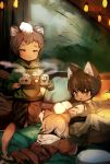 3boys animal animal_ear_fluff animal_ears animal_on_head blonde_hair blush brown_eyes brown_hair cat_ears cat_tail catboy cup highres hood hoodie light_brown_hair male_focus md5_mismatch mug multiple_boys on_head original revision shirokujira tail