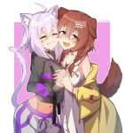 2girls :d ahoge animal_ear_fluff animal_ears black_hoodie blush bone_hair_ornament braid breasts brown_eyes brown_hair cartoon_bone cat_ears cat_girl cat_tail closed_eyes closed_mouth collarbone commentary dog_ears dog_girl dog_tail dress fang groin hair_over_shoulder highres holding_hands hololive hood hood_down hoodie interlocked_fingers inugami_korone jacket long_hair long_sleeves medium_breasts midriff multiple_girls navel nekomata_okayu off_shoulder open_clothes open_jacket open_mouth outline pink_background pink_hair shorts sleeveless sleeveless_dress sleeves_past_wrists smile tail tilt-shift twin_braids twitter_username two-tone_background virtual_youtuber white_background white_dress white_outline white_shorts yellow_jacket
