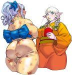 2girls :t alternate_hairstyle ass blonde_hair blue_eyes braid breasts curvy dark_elf dark_skin elf elf-san_wa_yaserarenai. erufuda-san food food_in_mouth french_fries hair_over_shoulder hair_ribbon highres impossible_clothes japanese_clothes kimono kuroeda-san large_breasts looking_at_viewer multiple_girls obi orange_kimono pointy_ears ponytail ribbon sash silver_hair synecdoche thick_thighs thighs twin_braids violet_eyes white_background yellow_kimono