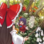 2girls absurdres ascot autumn_leaves bare_shoulders blouse bow brown_hair child commentary_request day detached_sleeves eyebrows_visible_through_hair fisheye forest hair_bow hair_ornament hair_tubes hakurei_reimu height_difference highres holding huge_bow leaf_hair_ornament long_hair long_sleeves looking_at_another mirror multiple_girls multiple_torii nature open_mouth outdoors outstretched_arms outstretched_hand purple_hair red_skirt ribbon-trimmed_sleeves ribbon_trim short_hair short_over_long_sleeves short_sleeves skirt spread_arms spread_fingers standing tatuhiro torii touhou translated tree upper_teeth v-shaped_eyebrows yasaka_kanako yellow_eyes younger