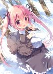 1girl ahoge arms_up black_skirt capelet commentary_request hair_ornament looking_at_viewer miyasaka_miyu open_mouth original pink_eyes pink_hair shirt skirt snow snowflakes solo standing twintails twitter_username white_shirt