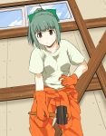 1girl absurdres bow brown_eyes eyebrows_visible_through_hair gloves green_bow green_hair hair_bow highres holding holding_hammer kantai_collection looking_at_viewer orange_gloves orange_tank_top ponytail rockborder shirt short_sleeves solo white_shirt yuubari_(kantai_collection)