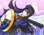 1girl angel_wings black_hair blue_eyes feathers gun hair_ribbon halo highres noto-kanna ribbon ryouki_(senran_kagura) senran_kagura senran_kagura_estival_versus senran_kagura_shoujo-tachi_no_shin'ei shield shotgun weapon wings