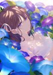 1girl achiki backlighting bangs blue_flower breasts brown_hair closed_mouth commentary_request crying crying_with_eyes_open dress dutch_angle eyebrows_visible_through_hair flower hair_between_eyes hair_ribbon looking_at_viewer lying on_back original purple_flower ribbon see-through small_breasts solo tears upper_body violet_eyes white_dress white_ribbon
