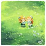 1boy 1girl bettykwong blonde_hair blue_shirt chibi closed_eyes dress grass link nintendo pointy_ears princess_zelda shirt silent_princess smile the_legend_of_zelda the_legend_of_zelda:_breath_of_the_wild white_dress