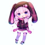 1girl :d animal_hood bangs black_footwear blue_eyes blush bunny_hood chibi crescent full_body hands_in_pockets haru431 hood hood_up hoodie long_sleeves looking_at_viewer open_mouth purple_hair purple_legwear shoes short_hair_with_long_locks simple_background smile solo sparkle star strap thigh-highs voiceroid white_background yuzuki_yukari