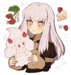 10s 1girl 1other 2019 alcremie cake cream_(specie) creatures_(company) crossover drooling fire_emblem fire_emblem:_fuukasetsugetsu fire_emblem:_three_houses food fruit game_freak gen_8_pokemon holding holding_pokemon human intelligent_systems koei_tecmo loli long_hair lysithea_von_ordelia nemui_468 nintendo olm_digital open_mouth pink_eyes pokemon pokemon_(anime) pokemon_(creature) pokemon_(game) pokemon_swsh season_difference simple_background strawberry super_smash_bros. upper_body white_background white_hair year_connection