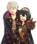book child closed_eyes father_and_daughter fire_emblem fire_emblem_awakening fire_emblem_heroes gloves hand_on_head highres hood hood_down kometubu0712 long_sleeves morgan_(fire_emblem) morgan_(fire_emblem)_(female) robe robin_(fire_emblem) robin_(fire_emblem)_(male) short_hair smile v white_background white_hair