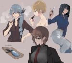 4girls absurdres alternate_hairstyle anchovy andou_(girls_und_panzer) applying_makeup bangs black_hair black_jacket black_ribbon blazer blonde_hair blue_eyes blue_shirt braid brown_background brown_eyes brown_hair casual cigar collared_shirt cropped_legs cropped_torso darjeeling dark_skin dress_shirt drill_hair eyebrows_visible_through_hair fish formal from_side girls_und_panzer green_hair grey_pants grey_shirt hair_over_shoulder hair_ribbon half-closed_eyes hand_on_hip highres holding holding_cigar holding_knife holding_lipstick_tube jacket knife light_smile lipstick long_hair long_sleeves looking_at_viewer makeup medium_hair messy_hair multiple_girls nishizumi_maho open_mouth pants ponytail re_(scd6) red_eyes reverse_trap ribbon shirt short_hair single_drill sleeves_rolled_up smile smirk smoke striped tied_hair translated vertical-striped_pants vertical_stripes wing_collar yellow_belt