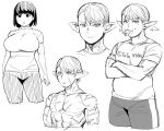 1girl 2boys :o belly breasts character_request crossed_arms elf-san_wa_yaserarenai. erufuda-san food french_fries genderswap genderswap_(ftm) genderswap_(mtf) highres large_breasts monochrome multiple_boys muscle pointy_ears scar short_hair simple_background synecdoche white_background